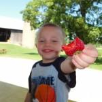 kid eating strawberry